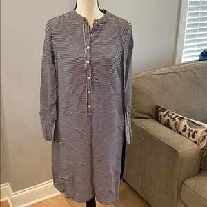 Boden Navy and White Shirt dress